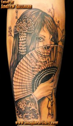#Geisha #tattoo by Andrew Sussman ... Love when artists incorporate the #skull face into tattoos like this.