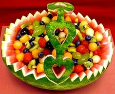 Watermelon Fruit Basket. CARVING. Part 2. Education carving. Step by step photos. Simple home carving.