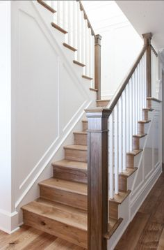 Wooden Stairs Design Wood Staircase 23 Ideas For 2019 Hardwood Stairs, Stair Handrail, Staircase Railings, Staircase Design, Stairways, Staircase Ideas, Hardwood Floors, Stair Design, Banisters