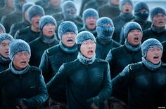 Chinese soldiers endured freezing temperatures of about -30C (-22 F) during a training session in Heihe, Heilongjiang province.