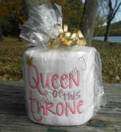 """Funny Embroidered Toilet Paper """"Queen of this Throne"""". Great gift or conversation piece. Paper Embroidery, Machine Embroidery, Embroidery Ideas, Embroidered Toilet Paper, Toilet Paper Crafts, Simply Stamps, Gag Gifts, Joke Gifts, New Crafts"""