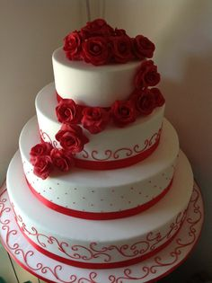 White cake, red roses, anything from birthday to wedding