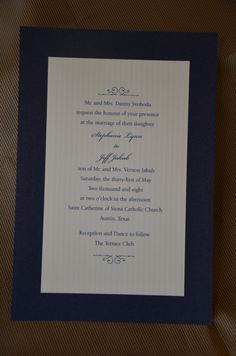 """This 2 layer #weddinginvitation has a navy shimmer bottom card that looks like a deep sapphire. The ecru top card with tone on tone stripe gives the invitation a mixture of textures that is surprising & formal without being stuffy. When the guests opened the envelope they could not help but say, """"ooh-la-la"""". And that's what we are always aiming for. Let us help you get the same reaction. Call 512.323.0600 and let's chat.#austinweddinginvitation #austintexassavethedate #localaustinstationer"""