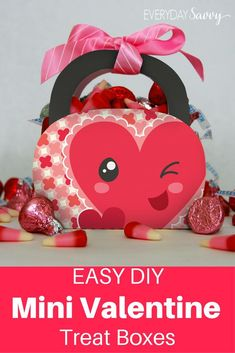 These super cute mini Valentine Treat Boxes are easy to make with the free printable template. Just print, fold and fill. via @everydaysavvy