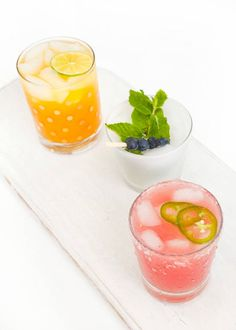 Jalapeño Watermelon Margaritas, Mango Limeade & Blueberry Mojitos- festive 4th of July drinks