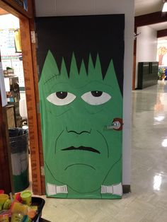 Frankenstein door for my first grade classroom. & Frankenstein. Cover door in green. Two triangles attached to black ... pezcame.com
