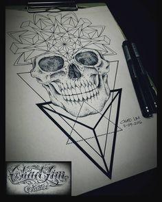 #chadlimtattoo #customdesign #geometrictattoo #geometric #pointillism #dotwork #lineworktattoo #skull #skulldrawing #mandala #skullmandala