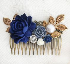 Navy Bblue & Gold Tones Formal Hair Accessory Comb. Formal hair comb for bridal / wedding /bridesmaid or prom / dance & more.  Handmade via Etsy artisan, only $20: support mini businesses. #blue #navy #gold_*