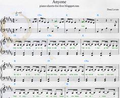 Easy Piano Sheet Music PDF Demi Lovato — Anyone  Duo Piano and voice