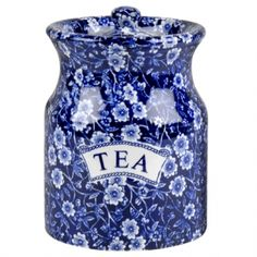 Burleigh, Blue Calico Storage Tea Jar