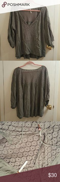 Green Free People 3/4 Sleeve Shirt size S Green Free People 3/4 Sleeve Shirt size S. No rips, holes or stains! Green is an army green with floral pattern shown in pic 3 & 4. Very light weight!   Bundle and save! Ask me about custom bundles! Free People Tops Blouses