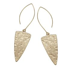 Hammered Spear Marquise Wire Earrings