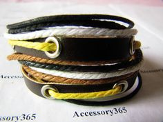 Mens Womens Leather and cotton ropes Bracelet by braceletcool, $8.50