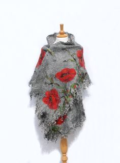 Felted scarf Nuno Felted shawl Red Poppy Felted art red grey black green gotland fleece merino wool chiffon silk felted flower Made to order THIS ITEM WILL BE MADE TO ORDER*** Waiting time is 3-4 weeks ^^^^^^^^^^^^^^^^^^^^^^^^^^^^^^^^^^^^^^^^ Felted scarf Nuno Felted shawl Red Poppy
