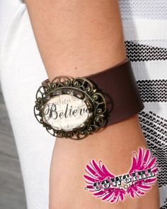 """Cowgirl Clad Company - """"Believe"""" Leather Bracelet, $30.00 (http://www.cowgirlclad.com/believe-leather-bracelet/)"""