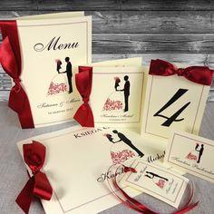 Zaproszenia na ślub z Parą Młodą - Przykład zestawu z parą młodą bordo, prążek ecru Gift Wrapping, Gifts, Paper Wrapping, Wrapping Gifts, Gift Packaging, Favors, Presents, Gift, Present Wrapping