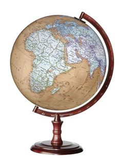 $124.95 The Discovery Clarion Globe features a 12-inch antique brown parchment style globe with outlined political boundaries attached with a numbered chocolate brown metal semi-meridian to a raised round wood base. #tabletopglobes #floorglobes #oldworldglobes #antiqueglobes #education #geography #teaching #vintage #toys