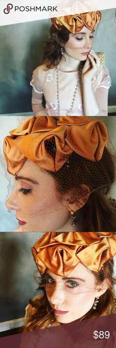 Spotted while shopping on Poshmark: Vintage Hat with a Veil in peach! #poshmark #fashion #shopping #style #Vintage #Accessories