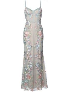 Shop Marchesa Notte floral embroidered gown.