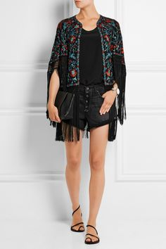 The high-end music festival look, which I somewhat secretly love. (Talitha Zara fringed embroidered silk-ottoman cape)