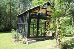 When we bought the cabin last fall, we inherited this quaint little greenhouse. I love that it is made with recycled windows- a great repurposing project! Unfortunately, it had been neglected for m… Chicken Garden, Backyard Chicken Coops, Backyard Sheds, Diy Chicken Coop, Chickens Backyard, Window Greenhouse, Greenhouse Plans, Greenhouse Kitchen, Recycled Windows