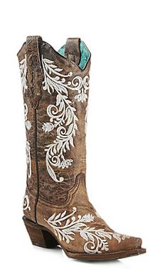 Cowboy boots women - Corral Women's Brown and White Glow in the Dark Embroidery Snip Toe Western Boots – Cowboy boots women Brown Cowgirl Boots, Cowboy Boots Women, Women's Western Boots, Corral Boots Womens, Wedding Boots, Wedding Dress, Dream Wedding, Bride Shoes, Fashion Heels