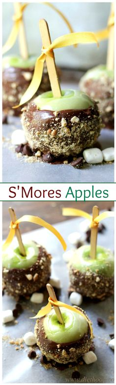 Beautiful green apples dipped in melted marshmallows, then chocolate, and finished off with a sprinkle of ground graham crackers.