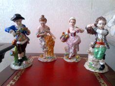"""the four seasons as a porcelain group -Porzellan Figuren """"Vier Jahreszeiten"""""""