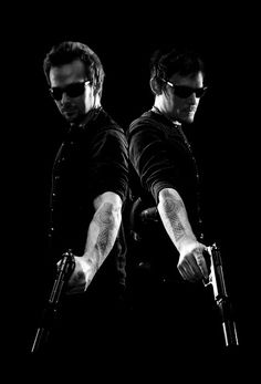"Boondock Saints ~ Norman Reedus and Sean Patrick Flanery (1999) ""And Shepherds we shall be  For thee, my Lord, for thee.  Power hath descended forth from Thy hand  Our feet may swiftly carry out Thy commands.  So we shall flow a river forth to Thee  And teeming with souls shall it ever be.  In Nomeni Patri Et Fili Spiritus Sancti."""
