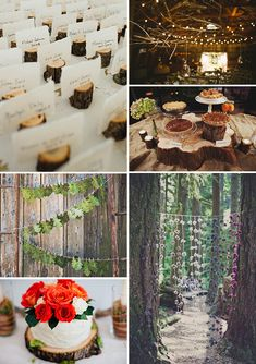 "For a rustic or an enchanted forest themed wedding - miniature ""tree stumps"" become escort card holders"