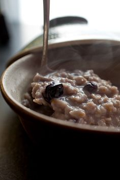 NYT Cooking: You can make this oatmeal, which will take on a purple hue once the blueberries begin to burst, on top of the stove or in the microwave. It only takes about 10 minutes on top of the stove (five minutes in the microwave).
