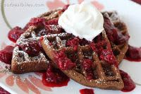 Double Chocolate Waffles with Berry Sauce.  I'm so excited to try these out on Jordan when he comes home next! He loves chocolate pancakes and fresh berries!