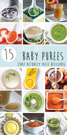 15 Stage One Baby Food Purees Months 15 homemade starter baby puree recipes that will tempt your baby's taste buds! These easy-to-make recipes are filled with nutrient dense fruits and vegetables and spices that enhance their natural flavors. Making Baby Food, Starting Foods For Baby, Starting Baby On Solids, Pureed Food Recipes, Easy Recipes, Fruit Recipes, Delicious Recipes, Homemade Baby Foods, Easy Food To Make