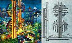 Dark Roasted Blend: Retro-Future: Glorious Urbanism 70s Sci Fi Art, Futuristic Architecture, First Car, Imagines, Retro Futurism, Geek Culture, Cartography, Artist Art, Trippy