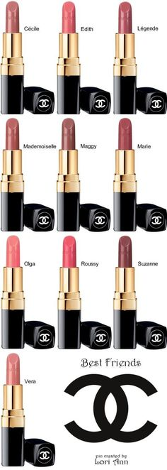 Chanel Rouge Coco Collection Lip Colours named for Coco & the friends, artists & lovers who inspired her. (Best Friends Colours)