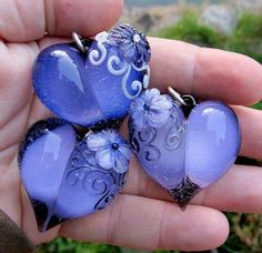 Limited edition glass heart charms in periwinkle blue by Collab Pretty! Heart Jewelry, Resin Jewelry, Jewelry Crafts, Jewellery, Clay Beads, Lampwork Beads, Beaded Beads, I Love Heart, Handmade Beads