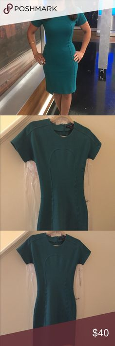 Emerald Green Dress French Connection Body Con dress with seaming detail across front. French Connection Dresses