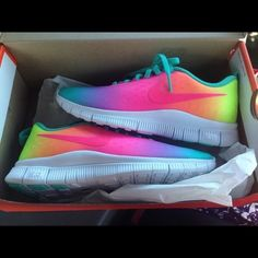 Rainbow Nike Free Shoes Okay.. So I have these... They're basically NWOT.. I can't decide if I want to sell these or not..if I get lowball offers I'll just keep them.. These are rare. KEEP IN MIND: Normal brand new nike frees sell for $80+. I've seen these sell for $200 plus. These are brand new and really rare. Offering less than Half of what is listed is RUDE. No trades. Rude comments make you look stupid. And hinder YOUR sales. No one will want to buy from someone who is mean. Size 6.5Y…