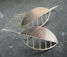 Sterling Silver Leaf  Earrings. £44.00, via Etsy.