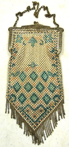 "Vintage Mandalian Ornate Art Deco Enameled Metal Mesh Purse 3-1/2"" x & 7"" With Original RARE Card, EC"