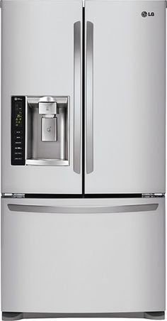 LG - 24.7 Cu. Ft. French Door Refrigerator with Thru-the-Door Ice and Water - Stainless Steel - Larger Front