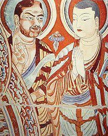 Blue-eyed Central Asian and East-Asian Buddhist monks, Bezeklik, Eastern Tarim Basin, China, 9th–10th centu