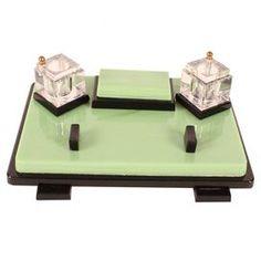 Art Deco desk set, beautifully crafted of bakelite and marble. Art Deco Desk, Art Deco Furniture, Art Nouveau, Antique Desk, Desk Set, Letter Art, Art Deco Fashion, Vintage Art, Decoration