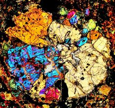 NWA 2388 meteorite thin section viewed through a polarizing microscope