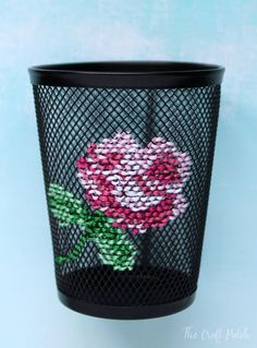 Cross Stitch Embroidered Pencil Cup An unconventional cross stitch craft project. Add a cute design to a wire mesh pencil cup from the dollar store. Cross Stitching, Cross Stitch Embroidery, Embroidery Patterns, Hand Embroidery, Cross Stitch Tattoo, Cross Stitch Art, Crochet Patterns, Diy 2018, Sewing Crafts