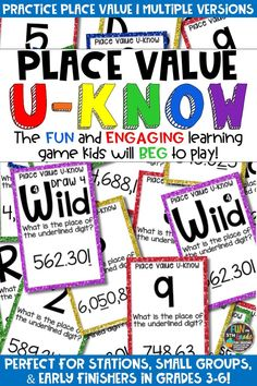 Students love playing U-Know games for fun REVIEW of place value or for test prep. It's a perfect addition to any small group or station, and great for early finishers. Place Value U-Know is a fun learning game played similar to UNO except if you get an answer wrong, you have to draw two! Students will beg to practice place value in this way! 3 versions available!