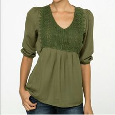 Green 3/4 Blouse new in pkg Green top 3/4 sleeve. Tie in back. What a beauty  please pre order by liking and leaving your size. Moon Collection Tops Blouses