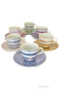 Set 6 Colorful Porcelain Demitasse Espresso Cups and Saucers  - http://www.coffee-house.net/espresso-cups/set-6-colorful-porcelain-demitasse-espresso-cups-and-saucers/