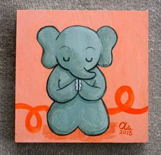 Meditating Elephant - Original Painting via Etsy