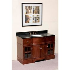 """WLF5043 48"""" Single Sink Vanity -- 48"""" Single sink vanity; four doors, 2 drawers; interchangeable door panels (wood or frosted glass). Note: This product is a vanity cabinet only. Countertop/Backsplash and sink sold separately."""